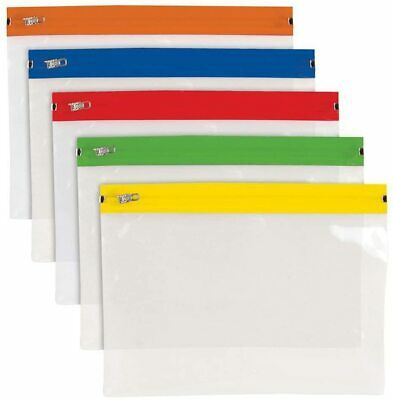 A5 Polythene Zip Bags - CLEAR - Pack of 25 (Assorted Colour)