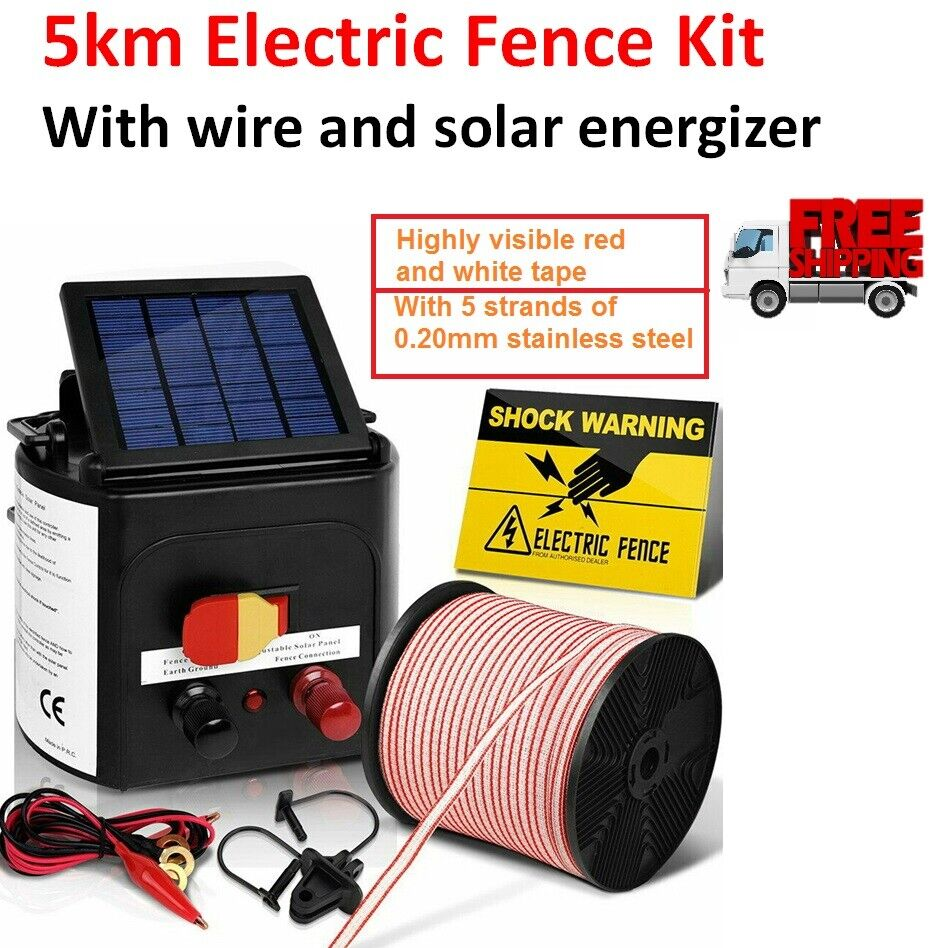Details about 5km Solar Electric Fence Wire Charger Kit with Tape Insulator  Sign Farm Fencing