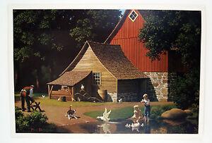 Vintage Paul Detlefsen Memories Barn Farm Scene 42 x 29 Large Format Print