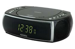 Jensen Modern Home CD Tabletop Stereo Clock Digital AM/FM Radio CD Player Dua...