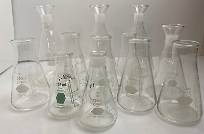 Vintage Lot Of 12 Flasks Lab Glass Kimax 125250500ml Graduated Erlenmeyer