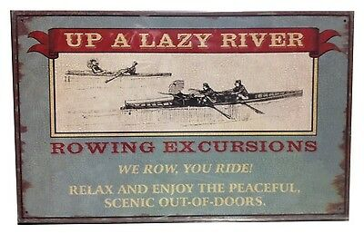 Up a Lazy River Excursions TIN SIGN row boat vtg advertising victorian art decor