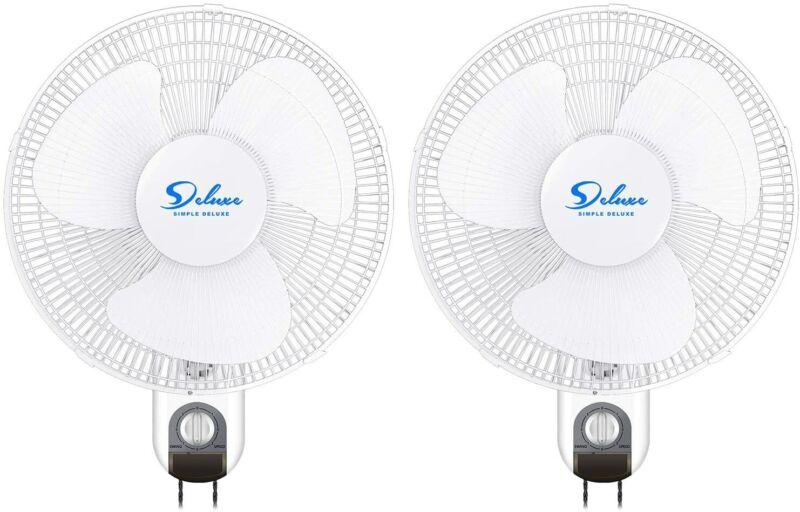 Simple Deluxe 2-Pack 16 inch Digital Wall Mount Fans Adjustable Tilt 90° 3 Speed