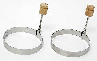 Egg Round Molds Rings Poacher Stainless Steel Set of 2 Cooking Pancakes Burgers