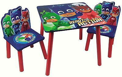 Kids PJ Masks Table & 2 Chairs Set Nursery Play Room Bedroom Furniture Wooden