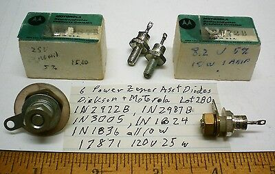 6 New Assorted Power Zener Diodes 1025 Watts Lot 280 Dickson Motorola Usa