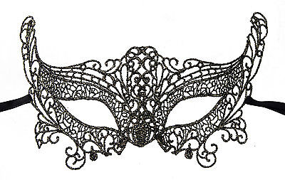Mask from Venice Lace Burano-Wolf Civet Carnival- Black Golden 350