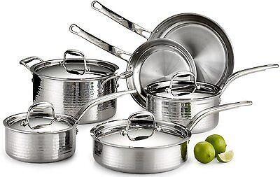 Lagostina Martellata Hammered Stainless Steel  Tri-Ply 10 Piece Cookware Set NEW
