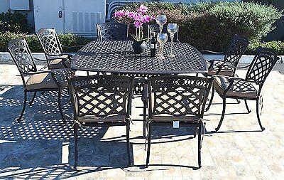 Nassau Patio - Cast aluminum patio dining set 9pc outdoor furniture square Nassau table 8 chair