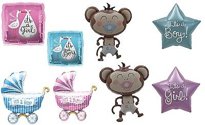 It's A Boy It's A Girl Foil Balloon Buggy Monkey Helium or Air Fill Baby Shower - Girl Monkey Baby Shower
