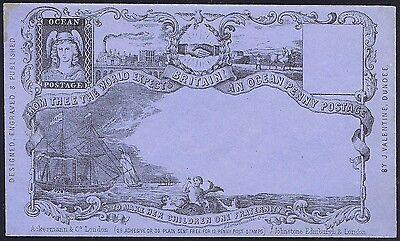 1890 c. Valentines Ocean Penny Postage Envelope by Deraedemaeker Fine Unused