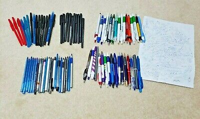 Mixed Lot Of 82 Pens - Retractable Ball Point Ink Advertising Pens Free Shipping