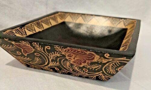 Wooden Diamond Bowl Batik Purbayasa Pattern Handcrafted from Bali Java *RARE*