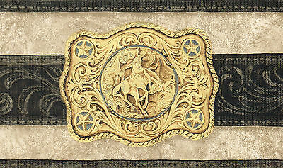 Cowboy Country 2 Belt Buckle 51/4 Wide Black Edges Yahoo Wallpaper Border Wall