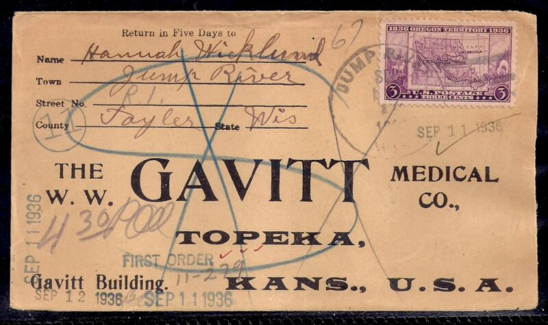 1936 Jump River, Wisconsin (DPO 1909-1957) to Topeka, KS - Gavitt Med - 783
