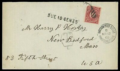 """1900 British Post Constantinople to New Bedford Ma. USA Postage """"Due 10 Cents"""""""