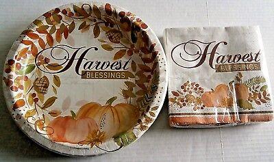 THANKSGIVING Paper Plates & Napkins HARVEST BLESSINGS 36 Napkins 18 - Thanksgiving Paper Products