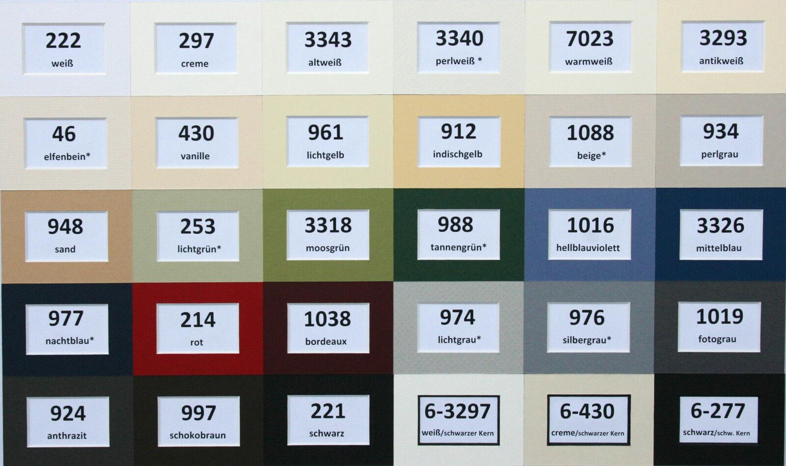 Passepartout 1,4 mm säurefrei nach Maß  alle gängigen Außenformate 35 Farben