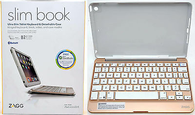 Zagg Slim Book Ipad Mini 1/2/3 Bluetooth Keyboard Stand T...