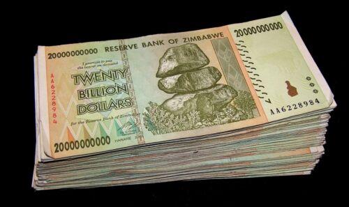 20 pcs x Zimbabwe 20 Billion Dollar banknotes-paper money currency-2008/AA or AB