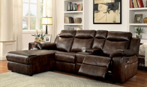 Sectional Console Brown Sofa Chaise Tufted Headrest Plush Cushion Modern Recline