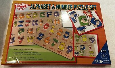 Number Puzzle Set - Alphabet And Number Puzzle Set By Tooky Toy, 2 Wooden Puzzles, Education Toys