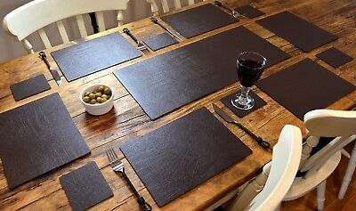CLASSIC BROWN Bonded Leather 6 PLACEMATS, 6 COASTERS & TABLE RUNNER DINING SET