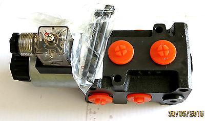 Hydraulikventil 6/2 Wegeventil - Umschaltventil 12 Volt  50 L/min + Leckan