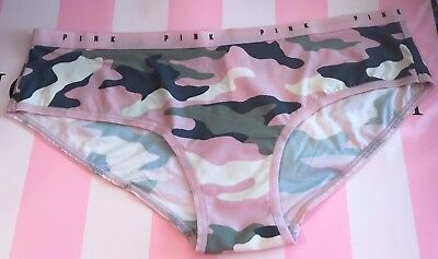 VICTORIA'S SECRET PINK GREEN GRAY IVORY CAMOUFLAGE CAMO SMOOTH HIPSTER