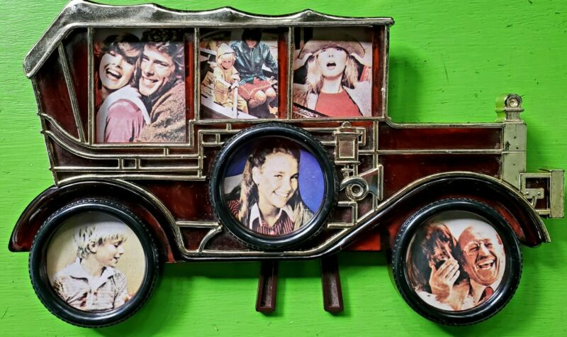 Vintage 70s 80s Car Shaped Kitschy Family Picture Photo Frame Hanging Standing