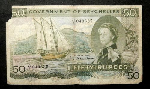 Seychelles 50 Rupees, 1969. Sailboat, ship. Scarce