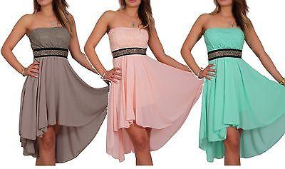 Damen Kleid Mini Cocktail Abendkleid Trägerlos Tanzkleid Strass Chiffon 34/36/38