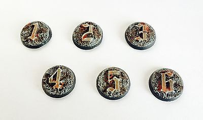 wargaming objective markers numbered 1-6 cast resin Unpainted