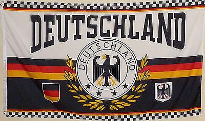 Fahne Flagge Deutschland Lorbeerkranz Adler 4 Sterne 1,5x0,9 Meter m. Oesen  NEU