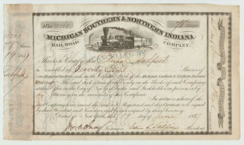 1857 Michigan Southern & Northern Indiana Railroad Stock Certificate