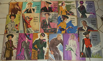 16x alte Mode-Zeitschrift:Deutsche Moden-Zeitung 1938  13 Schnittmuster Art Deco
