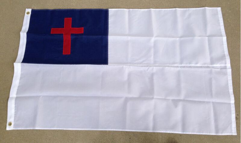2x3 Ft CHRISTIAN Flag Embroidered Nylon Cross Jesus Church Chris
