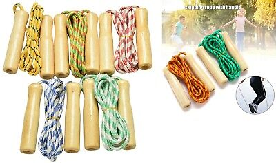 Skipping Rope with Wooden Handle Jump Play Sport Exercise Workout Kids Adult UK