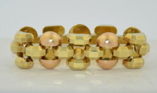 14K Yellow & Rose Gold Czechoslovakia Art Deco Tank Bracelet