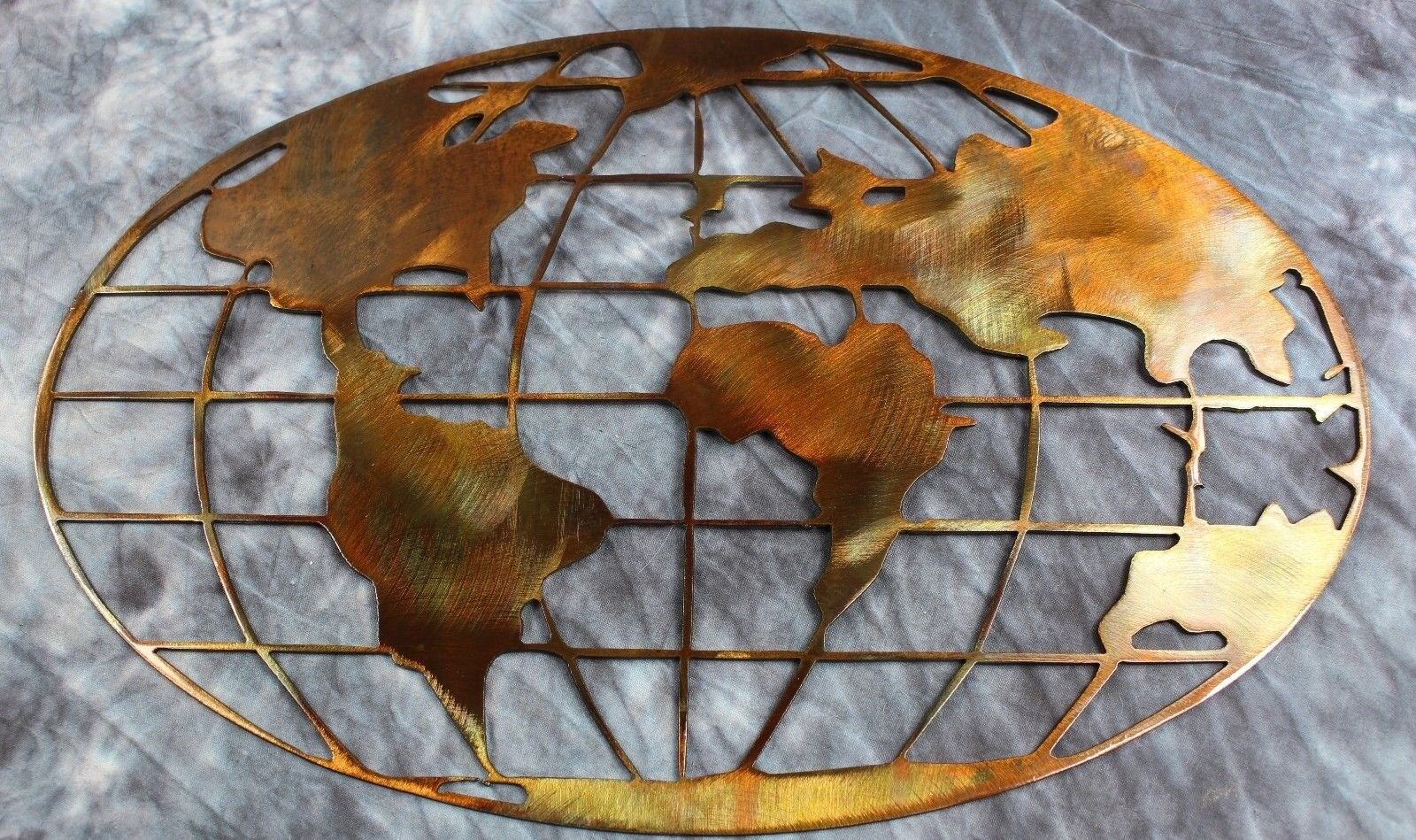 """Metal Art World Map 23 1/2"""" wide copper and bronze plated metal wall art decor"""