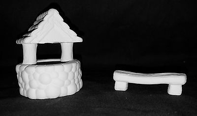 Ceramic Fairy Garden Miniature Well and Bench - Ready to Paint Ceramic Bisque