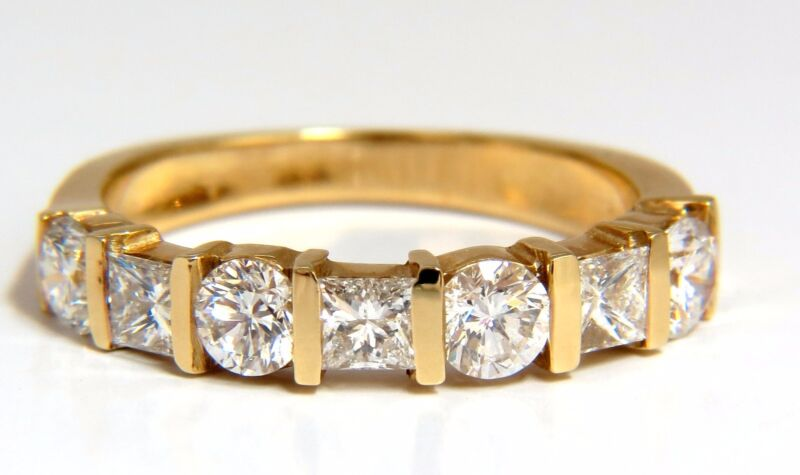 $6000 1.40ct DIAMONDS PRINCESS ROUNDS CHANNEL BAND 14KT G.VS