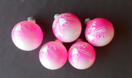 5 SHINY BRITE Vintage Ornaments PINK Christmas Greetings UNSILVERED