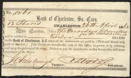 1862 Bank of Charleston (SC) Share Certificate - Northern Shareholders