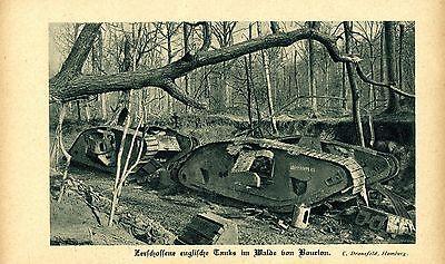 Zerschossene englische Tanks im Walde von Bourlon. Bilddokument von 1919