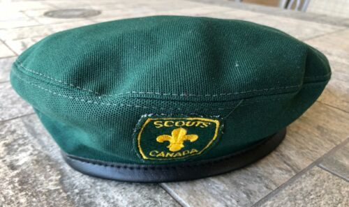 Vintage Boy Scouts of Canada Official Beret Green Hat Size Medium