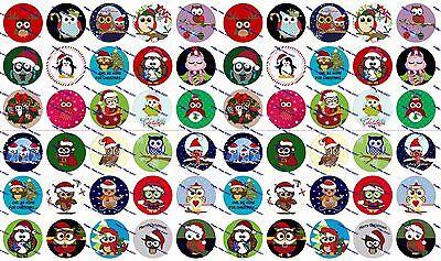 60 Precut 1  Christmas Owls Bottle Cap Images Set 1
