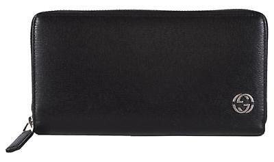 NEW Gucci 408801 Black Leather GG Plaque Zip Around Wallet Clutch