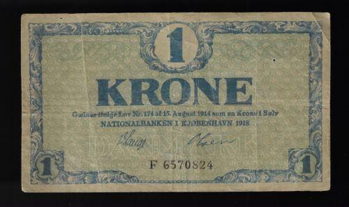 DENMARK 1 KRONE  1918 Pic# 12