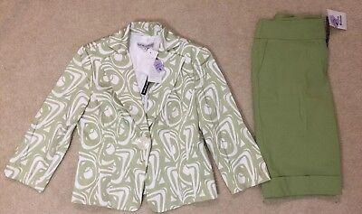 NEW NWT Donna Degnan Womens Suit Blazer Capri Set, Size 8